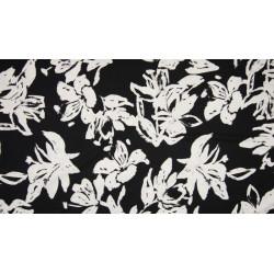 Viscose navy bloemenprint wit