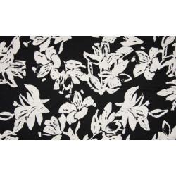 Viscose zwart met bloemenprint