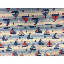 blauw met zeilboot