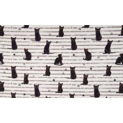 katoentricot ecru zwarte kat