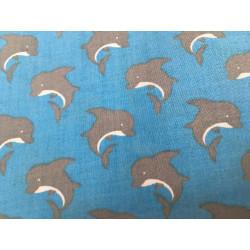 Katoen blauw met dolfijn