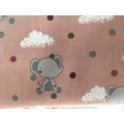 Katoen roze met olifantje
